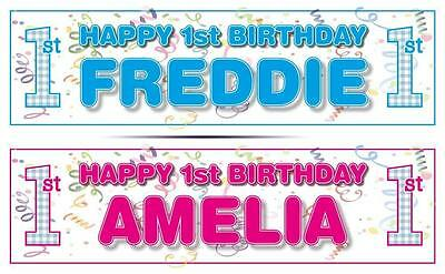"2 PERSONALISED 1st BIRTHDAY BANNER 36 ""x 11"" - ANY NAME, BOY OR GIRL - FIRST"