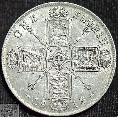 1918 Great Britain Silver Florin, Almost Uncirculated Condition, Free Ship C3752