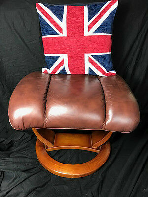Pair Vintage Art Deco Style  Leather Footstools Antique Tan Brown