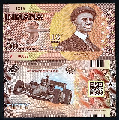 USA States, Indiana, $50, Polymer, ND (2016), P-N/L, UNC Wilbur Wright