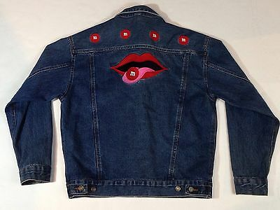 Mens or Womens Unisex M&M's Collectibles Candy Embellished Denim Jacket Coat - M
