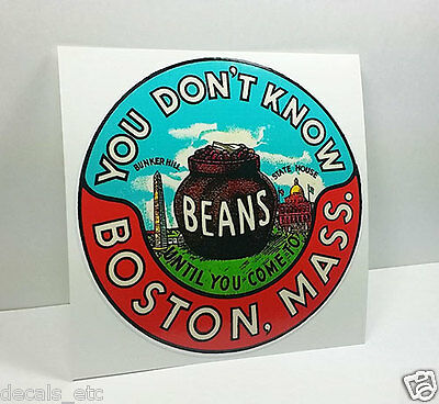 Boston Massachusetts Vintage Style Travel Decal / Vinyl Sticker, Luggage Label