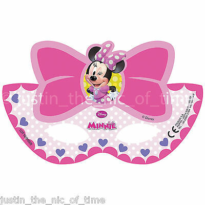 DISNEY MINNIE MOUSE Girls Birthday Party Paper Face Masks x6