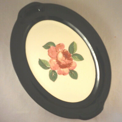 """Taylor Smith & Taylor ROSE & GREEN BAND 12"""" OVAL SERVING PLATTER Pat. #2066 TS&T"""