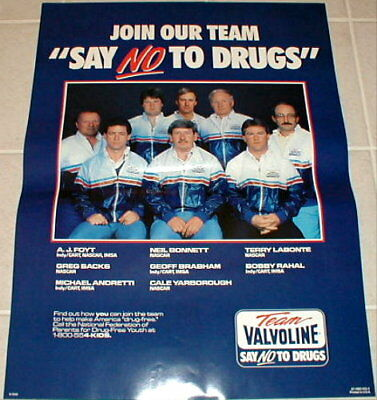 Valvoline motor oil poster Neil Bonnett AJ Foyt 1987 vintage Say NO to Drugs New