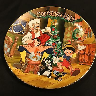 1989 Limited Edition Disney Christmas Decorative Plate Pinocchio Figaro Geppetto