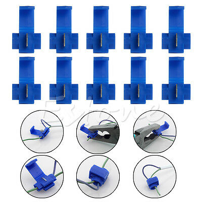 New 50pcs Blue Electrical Cable Connector Quick Splice Lock Wire Terminals Crimp