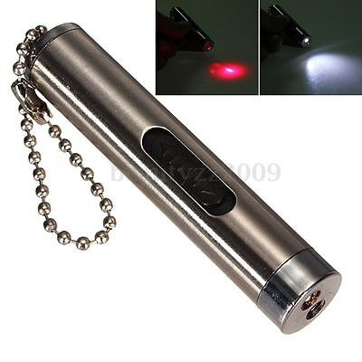 2 In 1 Red Ray Laser Pointer LED KeyChain rosso bianco luce Pen penna puntatore