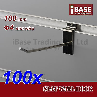 100 x SLAT WALL HOOK SLATWALL PANEL GROOVED DISPLAY BOARD CHROME METAL 100MM 4MM