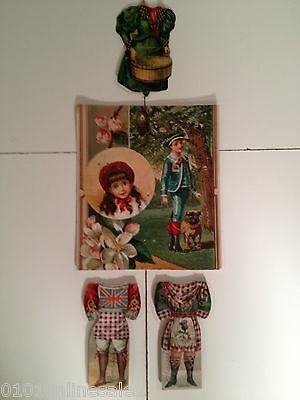 ~3 Victorian Trade Card Paper Dolls & String Tie Play Board