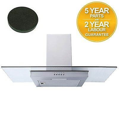 SIA FG91SS 90cm Flat Glass St/Steel Chimney Cooker Hood Extractor + Filter