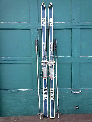 """VINTAGE Wooden 74"""" Skis Has Metal  Bindings + BLUE Finish with Poles"""
