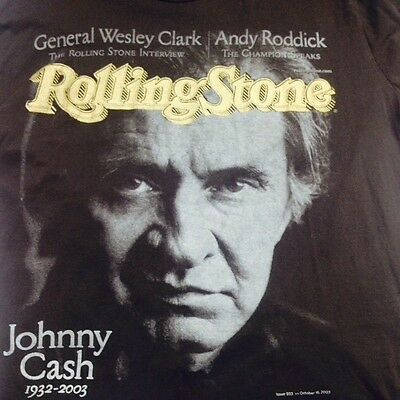 Vintage Adult Black Xl Rolling Stone Johnny Cash 100% Cotton Country T-Shirt