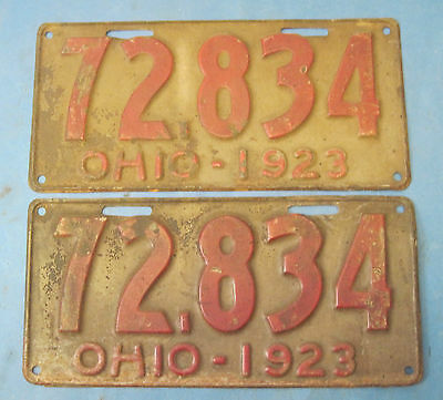 1923 Ohio license plate plates matched pair
