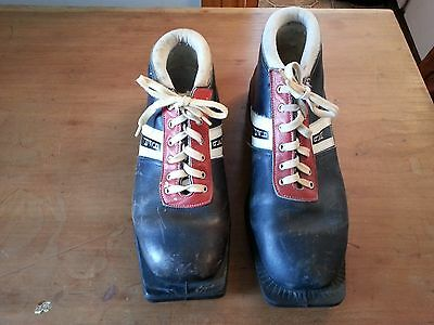 VINTAGE Ski Boots Skiing BLACK LEATHER Boots Great for Decoration