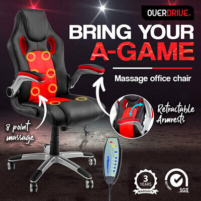 NEW 8 Point Massage Executive Office Computer Chair Faux Leather Red