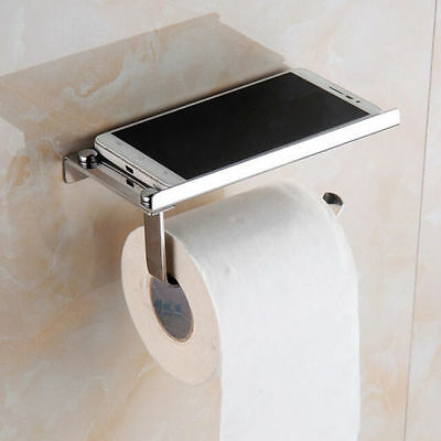 Wall Mounted Chrome Finished Solid Brass Bathroom Lavatory Toilet Paper Holder