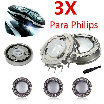 3x Shaver Razor Heads Cutter Replacement Blade + Brush for Philips HQ3 HQ55 HQ56