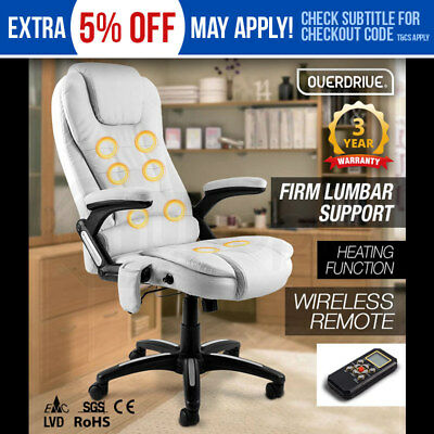 NEW 8 Point Massage Executive Office Computer Chair Heated Faux Leather White