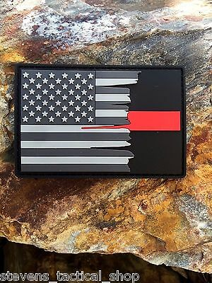 Subdued Tattered American Flag Thin Red Line PVC Patch, Firefighters