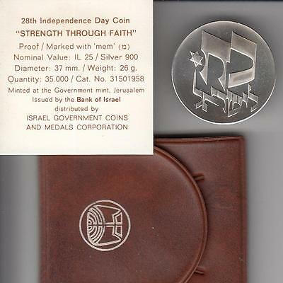 1976 ISRAEL 25IL 28th Anniversary of Independence STRENGTH PROOF COIN 26g SILVER