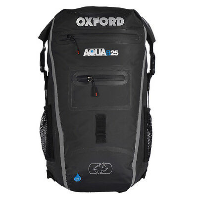 Oxford Aqua B25 Motorcycle Motorbike All-Weather Back Pack 25 Litre | Black/Grey