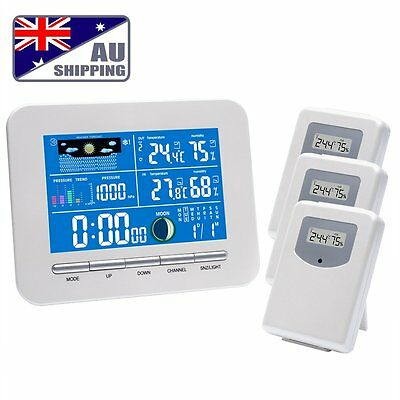 RisePro Wireless Color Weather Station In/Out 3 Sensor Humidity Barometer Thermo