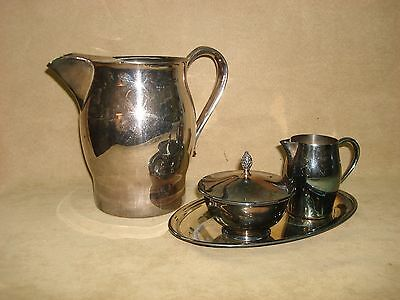 Vintage F.b. Rogers & Oneida Paul Revere Repro Pitcher, Sugar Creamer Tray Set