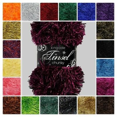 King Cole Tinsel Chunky Knitting Yarn/Wool for Hedgehogs/owls/scarves/Toys