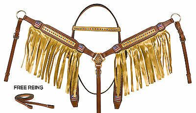 Gold Western Horse Show Leather Bridle Headstall Fringe Breast Collar Tack Set