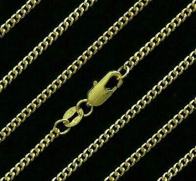 """NEW Gold Filled 2mm Solid Curb Necklace Mens Womens Girls Chain 16"""" 18 20 24 26"""""""
