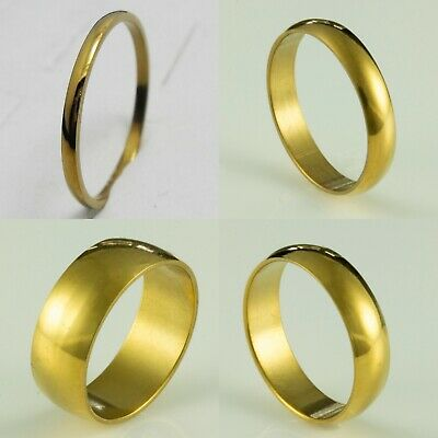 2mm 4mm 6mm 8mm Steel Gold Plated Mens Womens Wedding Ring Band (Sizes K to Z+1)