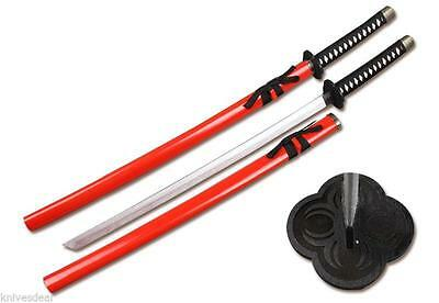 Red Zombie Wooden Samurai Katana Sword with Scabbard Cosplay Weapon