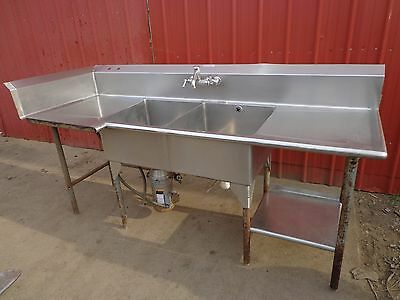 """90"""" x 34"""" Mastercraft Commercial SS Sink Drain 2-Bowl Waste King Disposal 750-3"""