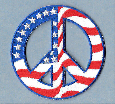 """-Iron On Embroidered Patch//Patriotic 1 1//2/"""" Round Peace /""""PEACE NOW/"""" DOVE"""
