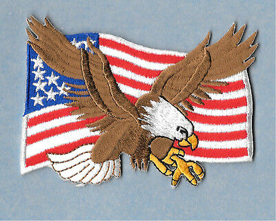 Eagle - American Eagle - Flag - USA  - Embroidered Iron On Patriotic Patch - B