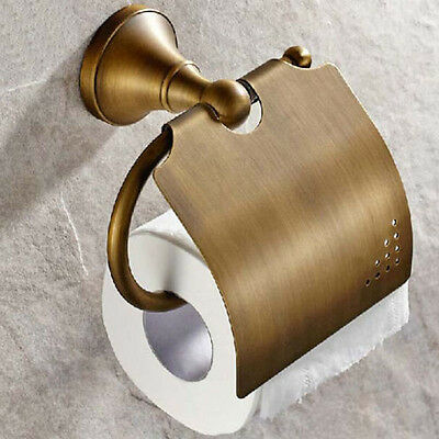 NEW Antique Brass Toilet Paper Holder Tissue Holder W/Cover Wall Mounted