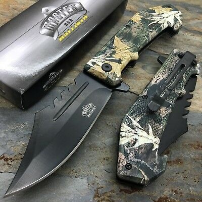 Master USA Ballistic Fall Leave Camo Coated ABS Handle Pocket Camping Knife