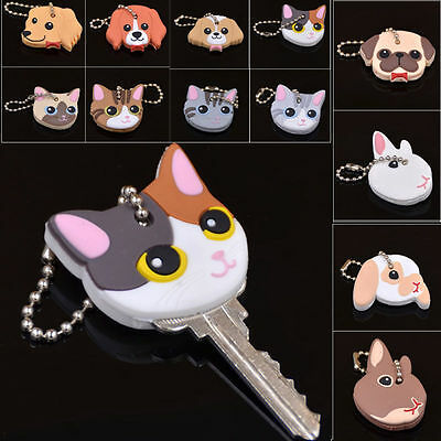 Cute Puppy Pug Cat Rabbit Key Cover Cap Keychain Key Ring PVC Key Case Unisex