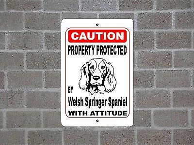 Property protected by Welsh Springer Spaniel dog with attitude metal sign #B