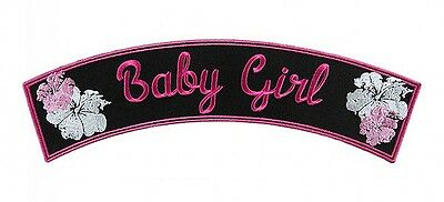 Baby Girl W Pink And White Flowers Lady Biker Rocker Patch FREE SHIP