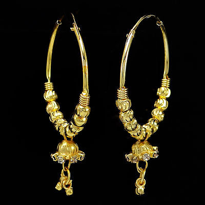 Goldplated Ethnic Hoop Earring Set Indian Women Traditional Bollywood Jewelry