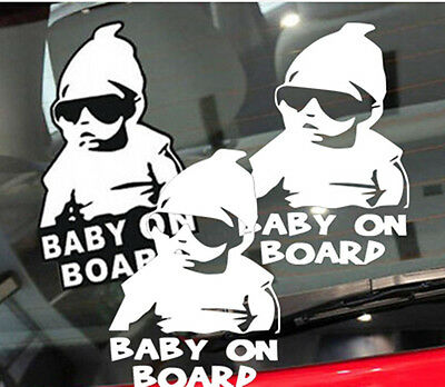 3xCOOL PERSONALISED Baby On Board Child Window Bumper VAN CAR Sign Decal Sticker