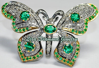Butterfly 6.67cts ROSE CUT DIAMOND EMERALD VICTORIAN LOOK WEDDING SILVER BROOCH