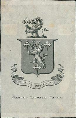 Samuel Richard Capel. Bookplate.   QR94
