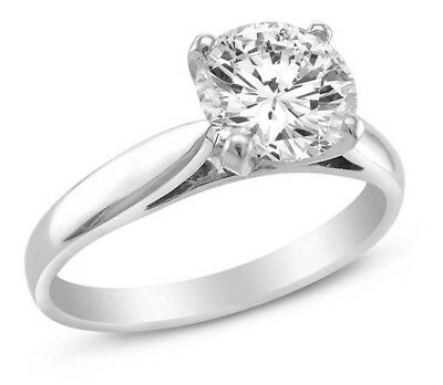 1.75 Ct Round Cut Solitaire Engagement Wedding Ring Solid 14K White Gold
