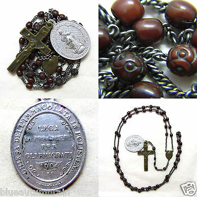 † Scarce Priest's Antique Genuine Bovine Rosary & Dated 1904 Enormous Medal †