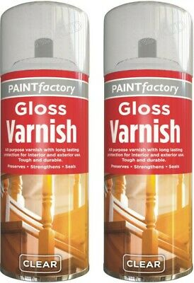 2 x Clear Gloss Varnish Spray Exterior Interior Aerosol 250ml All Purpose HLU