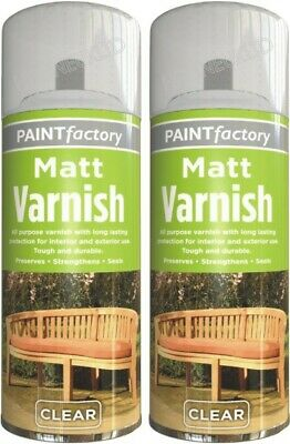 2 x CLEAR MATT SPRAY VARNISH 250ML INTERIOR EXTERIOR ALL PURPOSE FURNITURE HLU