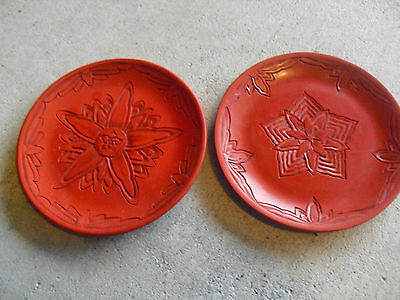 "Lot of 2 Unusual Carved Red Flower Small Decorative Plates 5"" Wide"